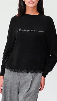 Черный джемпер Ermanno Ermanno Scervino с кружевом, фото