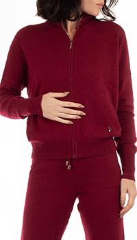 Кашемировая кофта GD Cashmere бордовая с карманами, фото