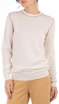 Белый джемпер GD Cashmere с окантовкой, фото