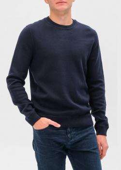 Трикотажный джемпер Hugo Boss темно-синего цвета, фото