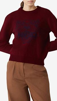 Бордовый свитер Kenzo с изображением тигра, фото