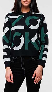Черный укороченный свитер Kenzo с принтом, фото