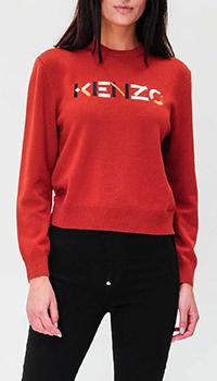 Шерстяной джемпер Kenzo с брендовой вышивкой, фото