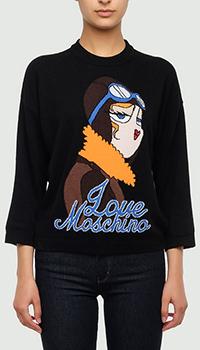 Черный джемпер Love Moschino с укороченными рукавами, фото