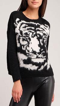 Черный свитер Liu Jo с головой белого тигра, фото