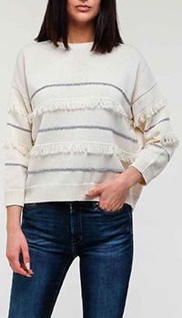 Белый свитер Max Mara Weekend с бахромой, фото