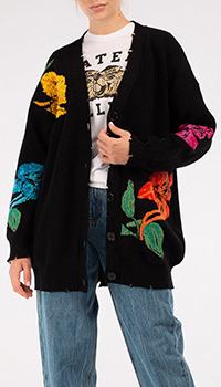 Черный кардиган MSGM с цветочным узором, фото