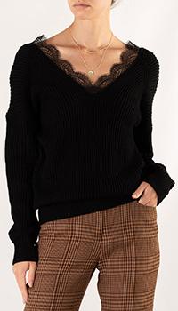 Черный пуловер Maje с кружевом вдоль выреза, фото