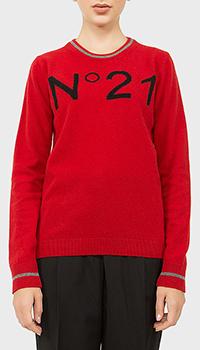 Красный джемпер N21 с вышитым логотипом, фото