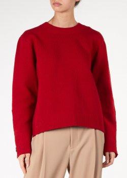 Красный свитер N21 с пуговицами-камнями на рукавах, фото