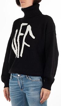 Черный свитер Off-White под горло с надписью, фото