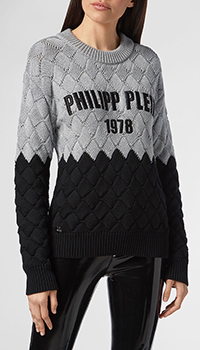 Двухцветный свитер Philipp Plein с вышитым лого, фото