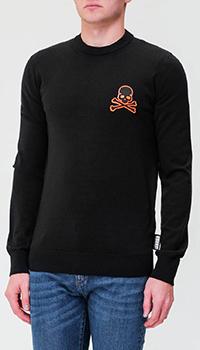 Черный свитер Philipp Plein с нашивкой в виде черепа, фото