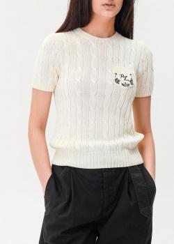 Трикотажный топ Polo Ralph Lauren с узором-косами, фото
