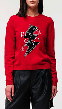 Красный свитер Red Valentino с рисунком из кашемира, фото