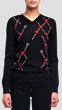 Свитер с принтом Red Valentino жаккардовая вязка, фото