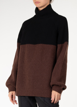 Двухцветный свитер-оверсайз Rochas крупной вязки, фото