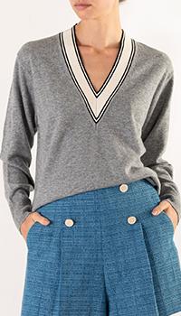 Пуловер из шерсти Sandro серого цвета, фото