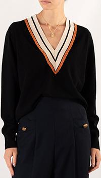 Черный пуловер Sandro с контрастным вырезом, фото