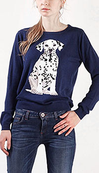 Джемпер Sugarhill Dalmation синего цвета с аппликацией в виде щенка, фото