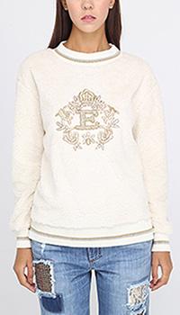 Джемпер Ermanno Ermanno Scervino белого цвета с брендовой вышивкой, фото