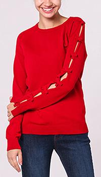 Красный джемпер Red Valentino с декором бантами, фото