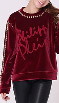 Красный свитер Philipp Plein с декором-бусинами, фото