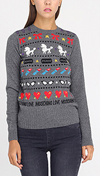 Серый джемпер Love Moschino с разноцветными орнаментами, фото