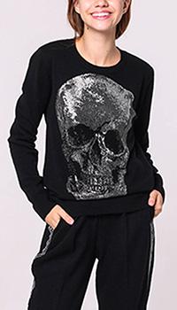 Черный джемпер Philipp Plein с черепом из кристаллов, фото