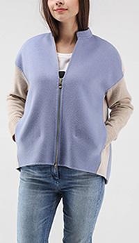 Шерстяная кофта Bogner с заниженным плечом голубая с бежевым, фото