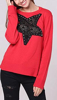 Красный джемпер Love Moschino с ажурной вставкой, фото