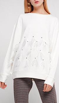 Белый джемпер Twin-Set с декором-бахромой, фото