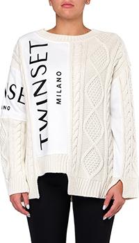 Белый свитер Twin-Set с принтом-логотипом, фото