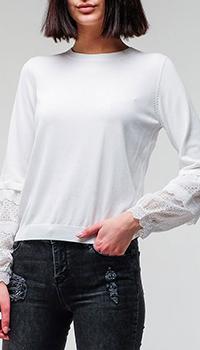 Белая кофта Twin-Set с кружевными вставками, фото