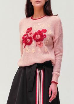 Розовый джемпер Twin-Set с цветами и пайетками, фото