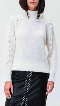 Белый свитер Twin-Set с ажурным узором на рукаве, фото