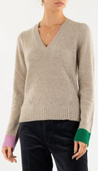Кашемировый пуловер Zadig & Voltaire с контрастными манжетами, фото