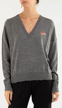 Серый пуловер Zadig & Voltaire с вышивкой в виде сердца, фото