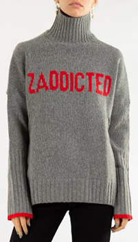 Серый свитер Zadig & Voltaire с контрастными деталями, фото