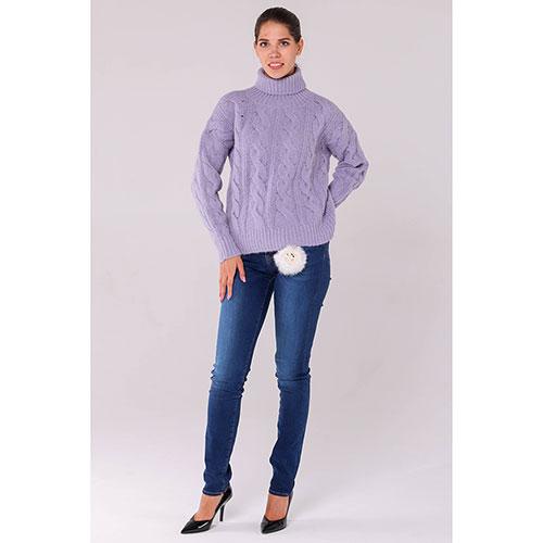 вязаный свитер под горло Peserico фиолетового цвета купить в