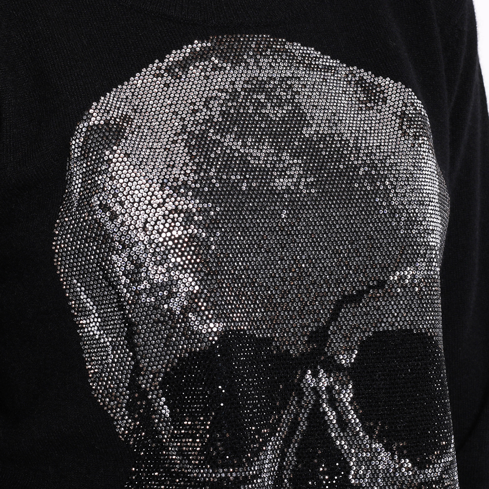 Черный джемпер Philipp Plein с черепом из кристаллов