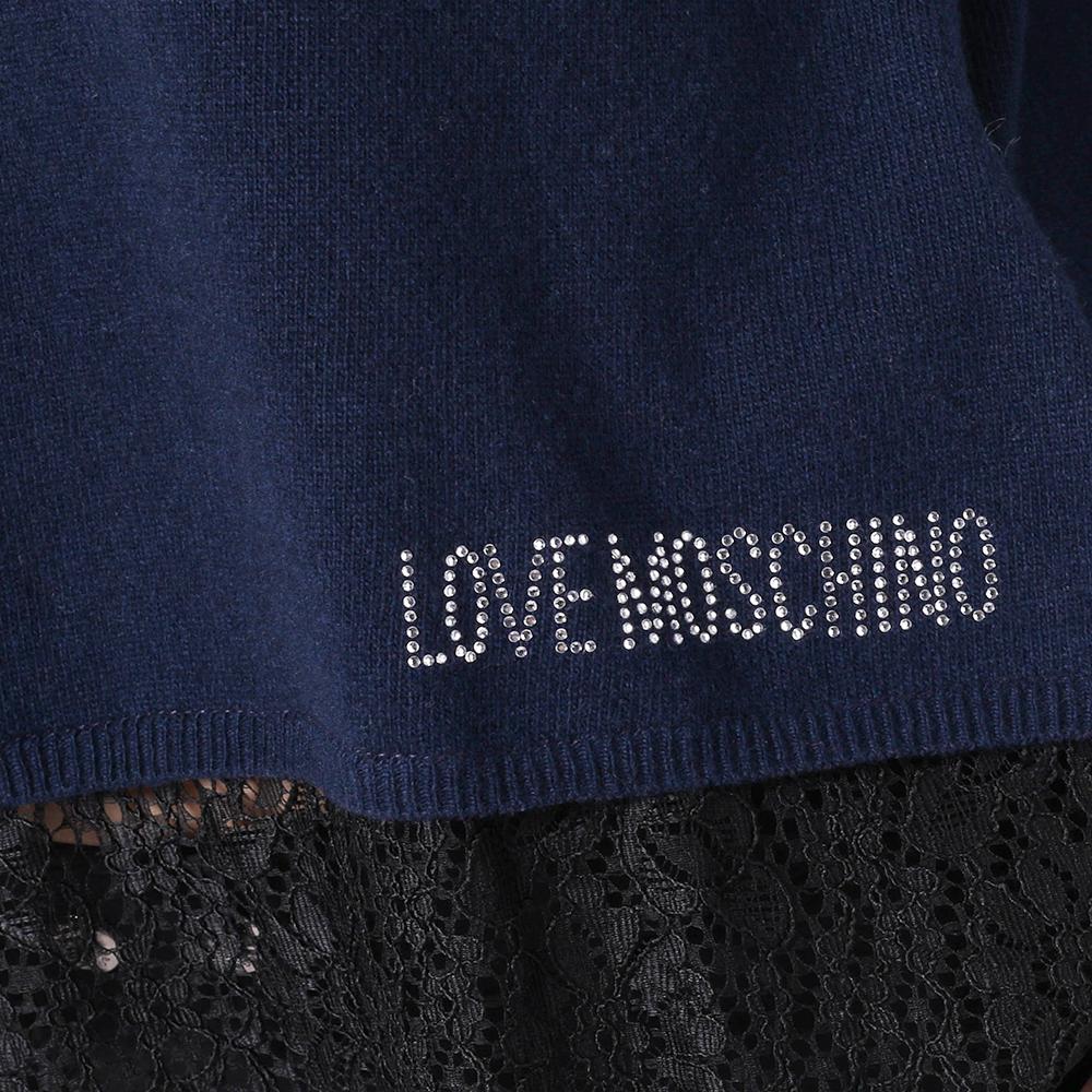 Джемпер Love Moschino синего цвета с кружевом