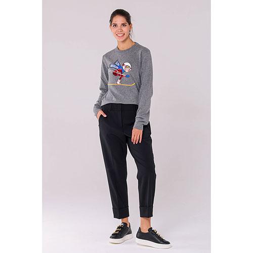 Серый джемпер Love Moschino с вышивкой и пайетками, фото