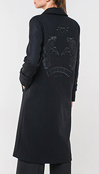 Черное пальто Iceberg с вышивкой на спине, фото
