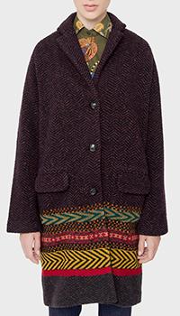 Коричневое пальто Etro с принтом-орнаментом из альпаки и кашемира, фото