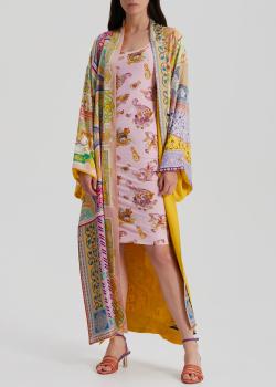 Шелковое пальто-кимоно Etro с принтом в технике пэчворк, фото