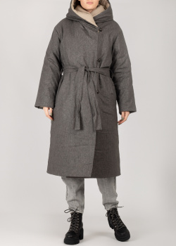 Серое конопляное пальто Devo Home зимнее, фото