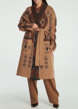 Шерстяное пальто Etro на завязке, фото