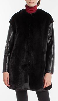 Черная шуба Pinko с рукавами из искусственной кожи, фото