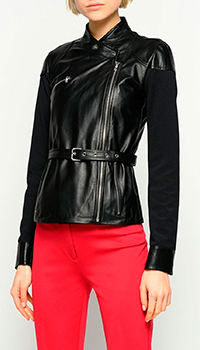 Кожаная куртка-косуха Pinko черного цвета, фото